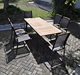 Gartentisch-Terrassentisch-Balkontisch-rechteckig-Metall-Holz-Aluminium-Teakholz-ausziehbar-massiv-Holz