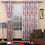 Seven Stars 1 Piece Cotton Floral Window Curtain - 5 ft, White & Red