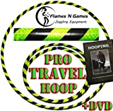 Adult Weighted Hula Hoop (Black/UV Yellow) Large Travel Hula Hoops For Dance, Fitness & Exercise + Hooping DVD!