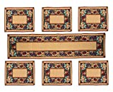 Glamkart Jacquard Fabric Table Mats (Set Of Six) With Runner
