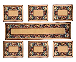 Glamkart Jacquard Fabric Table Mats With Runner