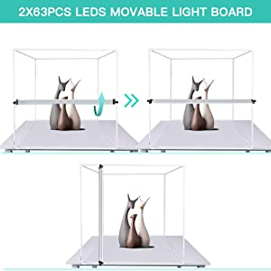 Photo Studio Light Box 24 x 24 inch TRAVOR Dimmable Photography Lighting Shooting Tent Kit with LED Lights, Portable Bag and 4 Color Backdrops (White Black Red Blue) (Tamaño: 24inch)