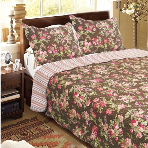 [Summer Flowers-Brown] 100% Cotton 3PC Classic Floral Vermicelli-Quilted Quilt Set (Full/Queen Size)