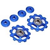 Stylrtop 2 pcs Bike 11T Aluminum Sealed Bearing Jockey Wheel Rear Derailleur Pulleys Fit Shimano SRAM (Blue) (Color: Blue)