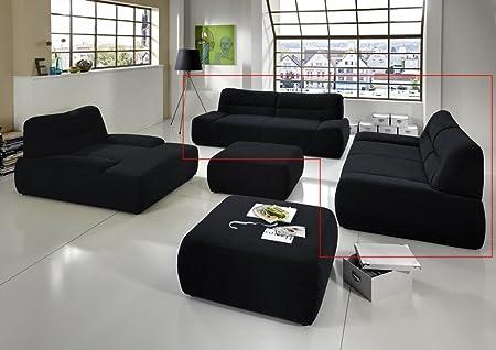 Dreams4Home Polstergarnitur Egira Set 3-Sitzer 2-Sitzer Sofa Couch schwarz, grau, blau, rot, grun o braun, Farbe:Grun