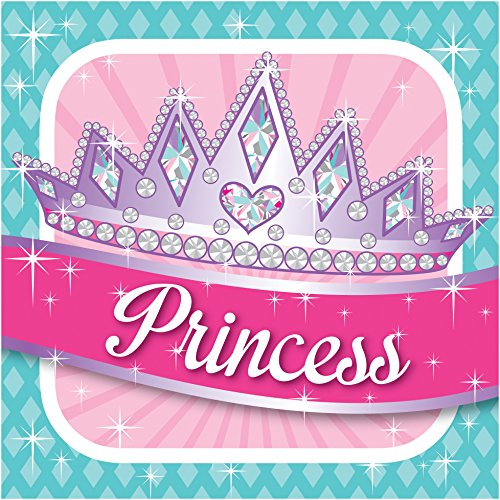 Creative Converting 16 Count 3 Ply Princess Party Lunch Napkins, Pink - 1