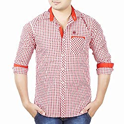Aedi's Men Cotton Casual Checkered Shirts (SR79_Red_S)