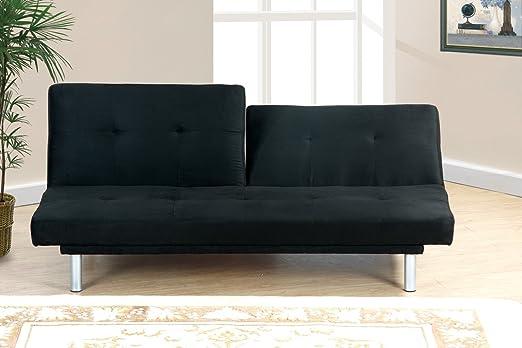 Adjustable Sofa in Black Microfiber by Poundex