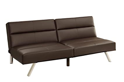 DHP Studio Convertible Faux Leather Splitback Futon, Full, Brown