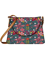 Snoogg Floral Leaves Designer Womens Carry Around Sling Bags