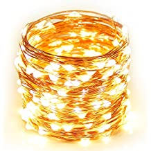 Christmas Lights Copper Wire, Addlon 16ft 50LED Starry String Lights Battery Powered Rope Lights Copper Wire String...