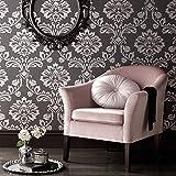 Graham & Brown Aurora Damask Pattern Textured Glitter Vinyl Wallpaper (Black Grey 20-708)