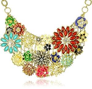 Amrita Singh Floral Enamel and Crystal Bib Necklace