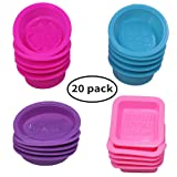 20 Pcs Silicone Soap Making Molds, Square Round Oval Shaped, FineGood Soft Cupcake Muffin Baking Pan for DIY Homemade Craft, Food Grade - Pink, Blue,