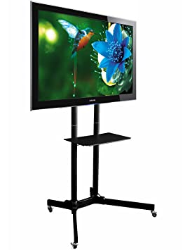 "TT411 Mobile TV Floor Stand for 32"" to 60"" Plasma LED LCD TVs ( Heavy Duty Steel Exhibition Display TV Trolley w/ Shelf)"