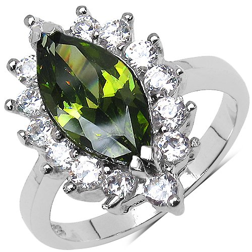 3.90 Grams Peridot Cubic Zirconia & White Cubic Zirconia.925 Sterling Silver Ring