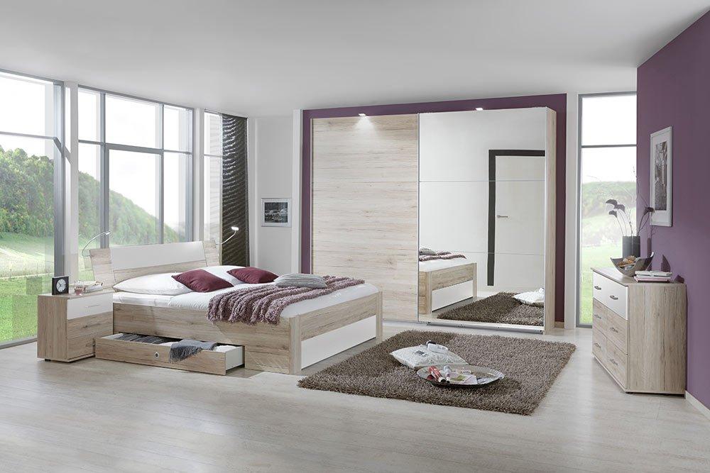 4-tlg-Schlafzimmer in San Remo-Eich-NB mit Abs.in weiß, Schwebetürenschrank B: 270 cm, Bett mit Schubkästen B: 180 cm, 2 Nachtschränke B: 52 cm bestellen