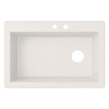 Swaoi|#Swanstone QZ03322SB.075-2 22-In X 33-In Granite Kitchen Sink 2-Hole, Bianca,