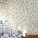 Cassiterite Mosaic' Circle Patterned Mosaic Effect Wallpaper in Gold/Beige (Sample)