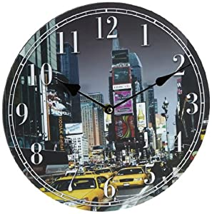 Horloge murale new york taxi image 30 30cm circulaire le - Horloge murale new york ...