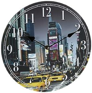 horloge murale new york taxi image 30 30cm circulaire le. Black Bedroom Furniture Sets. Home Design Ideas