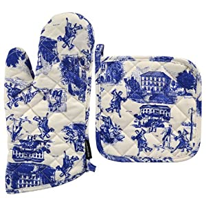Tango Home Signature Toile Blue Oven Mitt Potholder 2-Piece Set at Sears.com