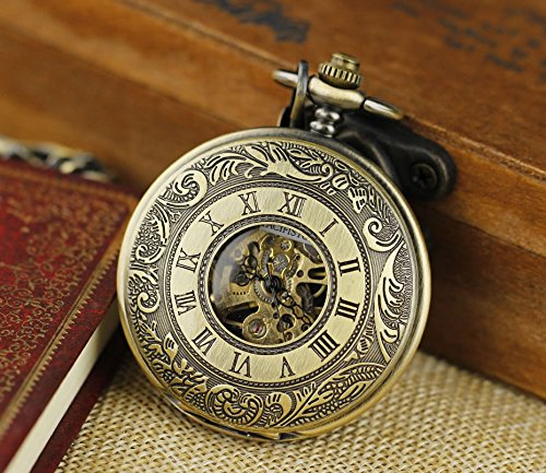 Pacifistor Bronze Men's Classic Vintage Antique Hand Wind Up Semi Automatic Skeleton Mechanical Roman Numeric Analog Pocket Watch +Fob-Chain #PX-012-BRZ 2