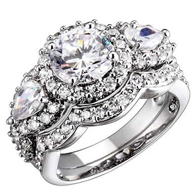 three stone rings silver wedding rings