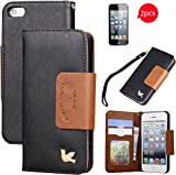 iPhone 5S case,iPhone 5 case,[with 2 FREE HD Screen Protectors]By HiLDA,Wallet Case,PU Leather Case,Credit Card Holder,Flip Cover Skin[Black]