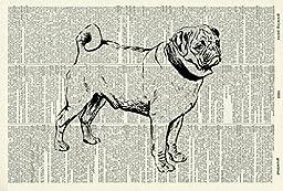 Pug DOG ART PRINT - DOG LOVER\'S GIFT - DOG ART PRINT - VINTAGE ART - ANIMAL Art Print - Illustration - Dog Picture - Vintage Dictionary Art Print - Wall Hanging - Book Print 448D