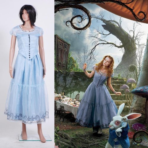Fashion-Mart Alice in Wonderland Blue Dress Cosplay Costume