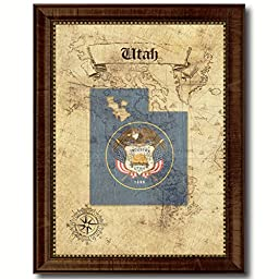 Utah State Vintage Map Flag Art Custom Picture Frame Office Wall Home Decor Cottage Shabby Chic Gift Ideas