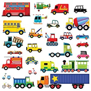 decowall dw 1205 28 transport wall stickers wall decals cars transport kids children wall stickers art decal boys