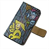 Graffiti 10005, Bad Boy, Texture Portafoglio Magnetico Flip Custodia Protectiva in Pelle Wallet Case Cover Shell...