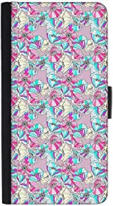 Snoogg Flower Patterndesigner Protective Flip Case Cover For Htc M7