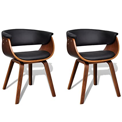2 Sillas de comedor modernas de madera y cuero artificial