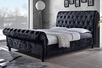 CHESTERFIELD CASTELLO Classy Modern Bed Frame Sleigh Style Fully Upholstered Designer bed in Crushed Velvet or Chenille Fabric (4FT 6'' Double, Crushed Velvet-Silver)
