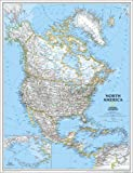"""National Geographic 3'x3'10"""" North America Continent Map"""