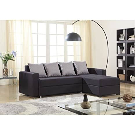 Sofá con canapé en ángulo recto, color negro