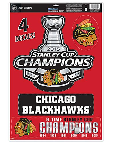 """STANLEY CUP CHAMPIONS CHICAGO BLACKHAWKS MULTI-USE DECAL 11"""" X 17"""""""