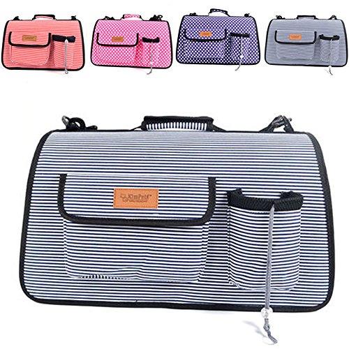 FFMODE Pet Carrier Cat/Dog Soft Sided Comfort Travel Bag Tote Shoulder Bag Striped, Blue Stripe, S