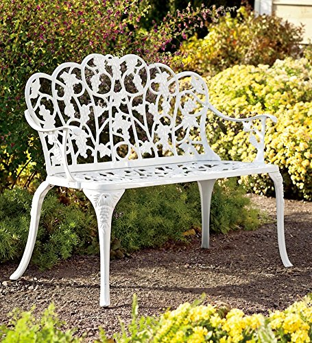 Plow & Hearth Grape Vine Design Two-Seat Garden Bench - Powder Coated Cast Aluminum, in White