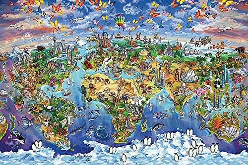 Weltkarte als Poster | Weltkarte mit Sehenswürdigkeiten