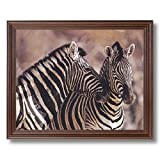 Wild African Safari Striped Zebra Home Decor Wall Picture Cherry Framed Art Print