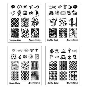 Amazon.com : Winstonia Nail Art Stamping Image Plate Bundle Set 2