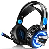 NiceWell Gaming Headset for Xbox One, PS4, PC, Gaming Headphones with Microphone, LED Light, 7.1 Stereo Sound, Noise-canceling, Over-ear Soft Earmuffs and Adjustable Heanband [NEWEST 2018 UPGRADED] (Color: Black)