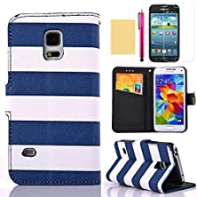 buy S6 Edge Case, [Pirate Pattern] High Quality Pu Leather Wallet Case [Credit Cards Holder] Flip Folio Kickstand Cover Magnetic Closure Super Slim Shell For Samsung Galaxy S6 Edge(Blue)