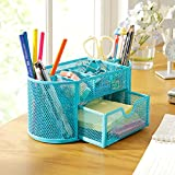 New Flash Store Multi-functional Metal Mesh Collection Desk Organizer Stationery Supplies Desktop Pencil Organizer (Blue)