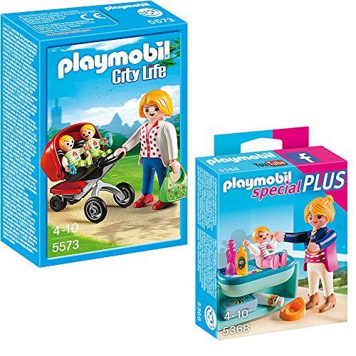 PLAYMOBIL® City Life Kindergarten 2-teiliges Set 5573 Mama mit Zwillingskinderwagen + 5368 Mutter mit Baby-Wickeltisch