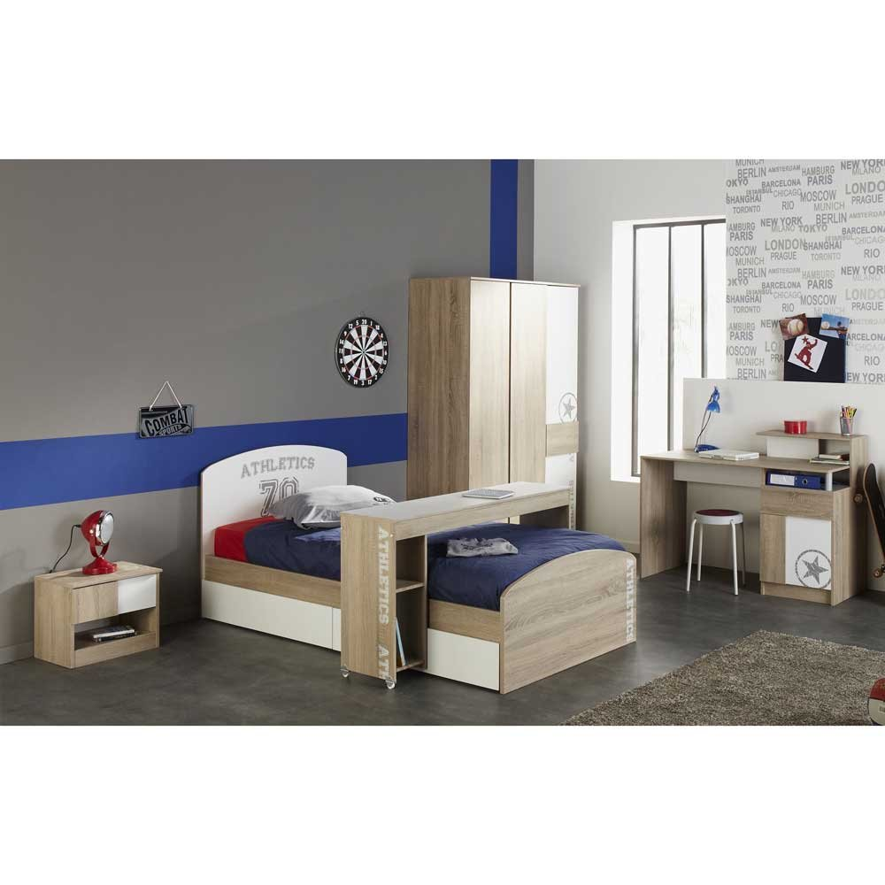 Jugendzimmer Set in Eiche Sonoma Weiß (7-teilig) Pharao24